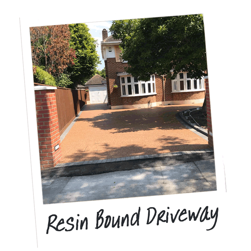 A resin driveway installed by Easier Drives employees in Dorset, showing new drive over edging to front of the drive.