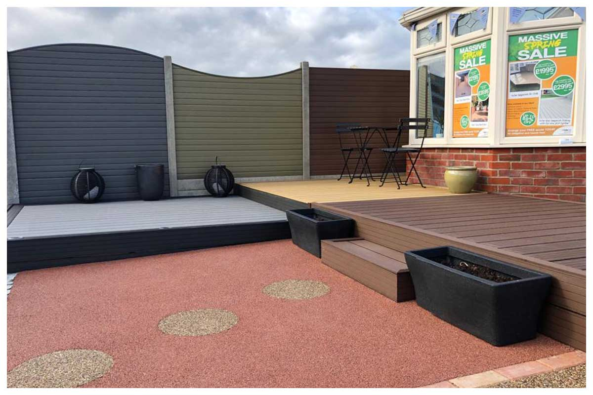 Composite decking and fencing, all colours available on display or available as a sample in our Dorset showroom.