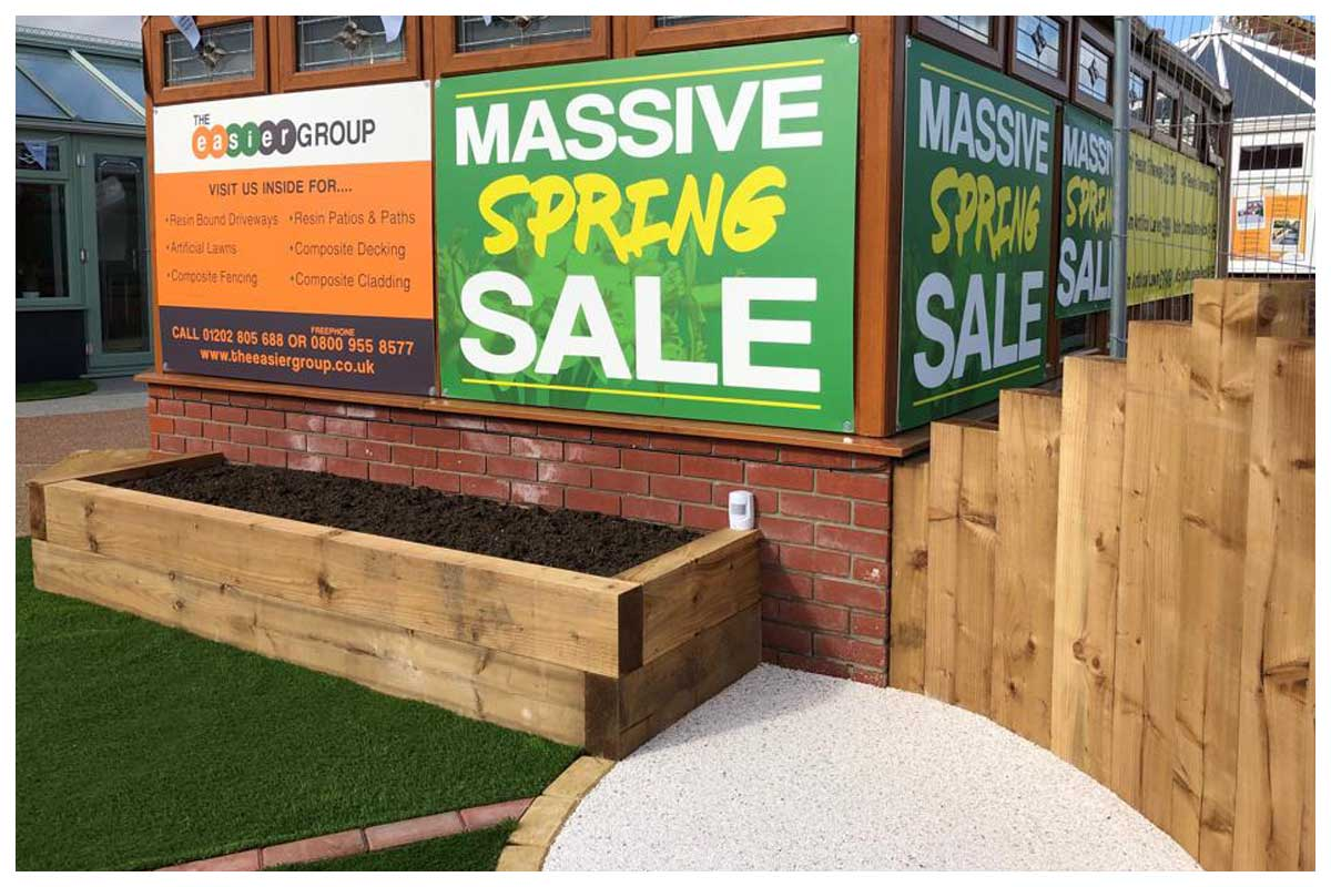 Timber sleeper planters to finish off that artificial lawn and garden makeover